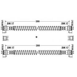 2x Flexibles de Frein Arriere - Peugeot 205 longueur 275mm 19018157*2