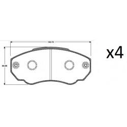 4x Plaquettes de Frein Avant - CITROEN JUMPER - PEUGEOT BOXER 101735309