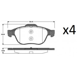 4x Plaquettes de Frein Avant - RENAULT LAGUNA 2 - VELSATIS - ESPACE 4 P68030