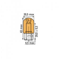 AMPOULE OBN AMBER 12V 21W T20 52370