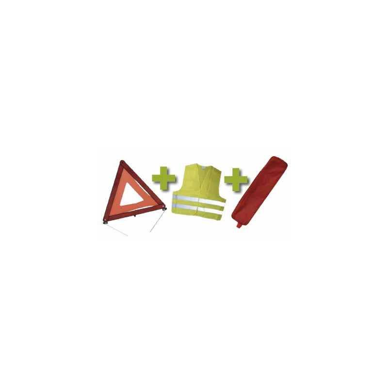 KIT DE SÉCURITÉ + POCHETTE ROUGE AVEC RIVET + GILET FLUO + TRIANGLE DE PRESIGNALISATION 53090