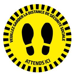 ADHESIF DE SIGNALISATION ROND POUR SOLS - DISTANCE DE SECURITE 53843FR